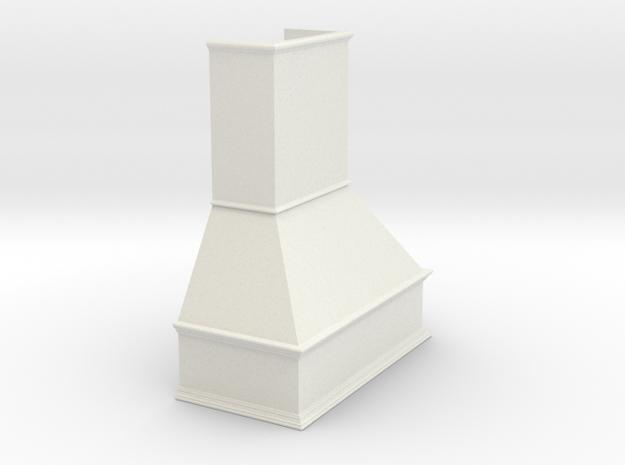 Miniature Chimney Hood 1:24 Scale in White Natural Versatile Plastic
