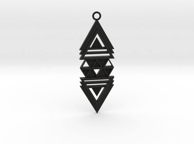 Geometrical pendant no.19 in Black Natural Versatile Plastic: Medium