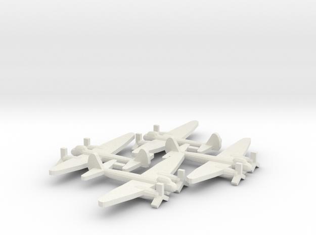 German JU-88 Bomber Aircraft (x4) in White Natural Versatile Plastic