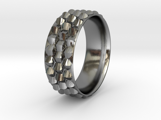 Dragon Scales Ring in Polished Silver: 6 / 51.5