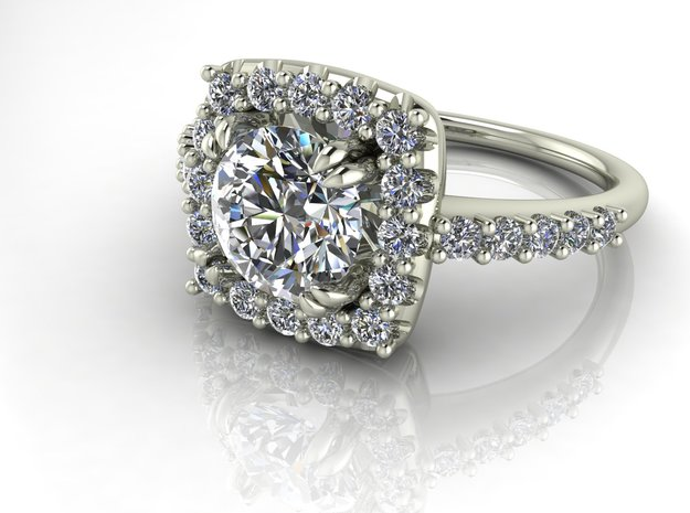 Cushion shaped halo NO STONES SUPPLIED in 14k White Gold