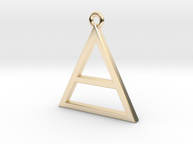 Pure Gold or Silver Triangle, Special Gift  in 14K Yellow Gold