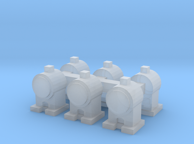 Head Lamps x6 (N Scale) in Smooth Fine Detail Plastic
