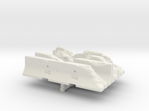 Damaged Jersey barrier (x4) 1/72 in White Natural Versatile Plastic
