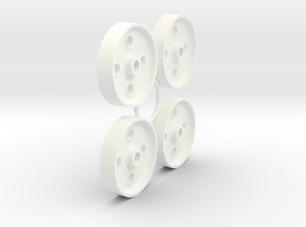 FR 4 Hole Wheel Centres (SM32) in White Processed Versatile Plastic
