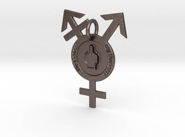 My Gender, My Business in Polished Bronzed-Silver Steel