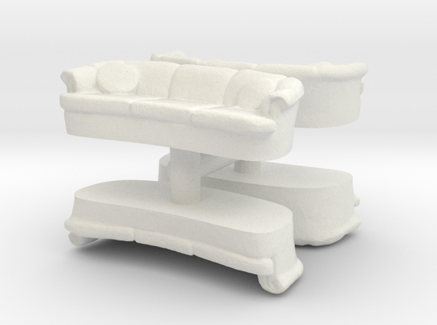 Sofa (4 pieces) 1/87 in White Natural Versatile Plastic