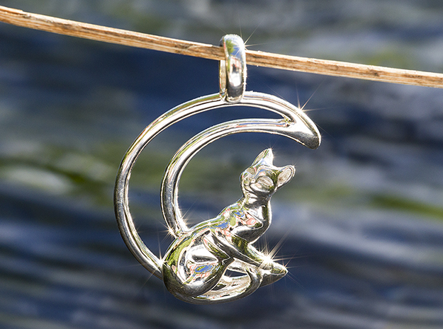 Cat and Moon Phase Pendant in Fine Detail Polished Silver