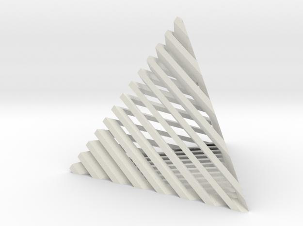 Striped tetrahedron no. 2 in White Natural Versatile Plastic