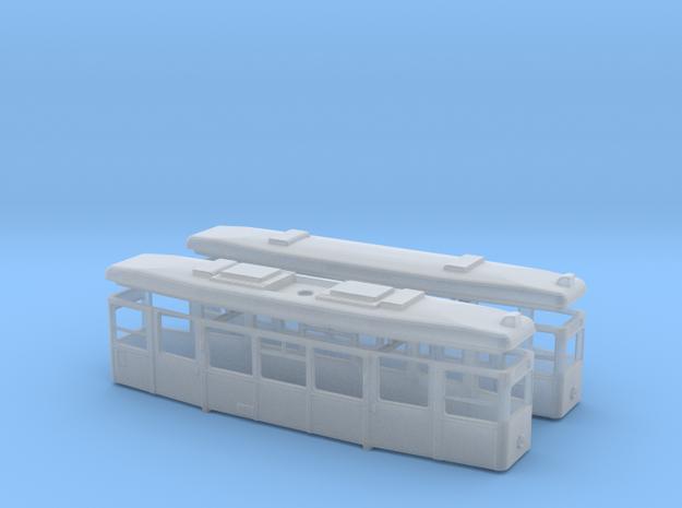 1:220 Straßenbahn Tw721 und Beiwagen Gehäuse mit D in Smooth Fine Detail Plastic
