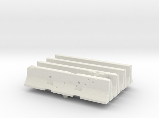 Jersey barrier (x4) 1/76 in White Natural Versatile Plastic