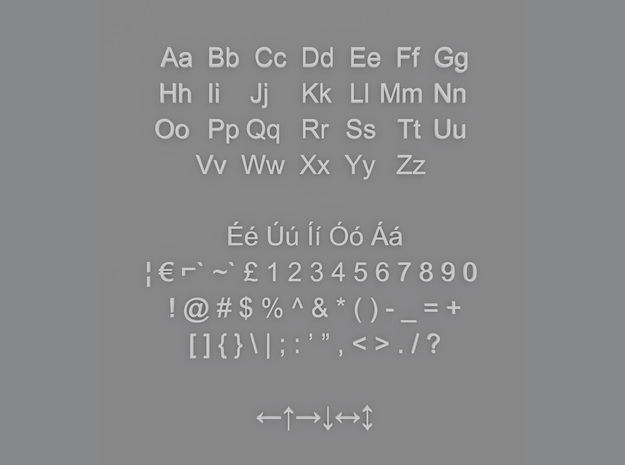 Alphanumeric Arial Characters in Smooth Fine Detail Plastic