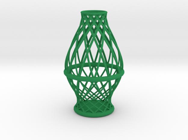 Spiral Vase Medium in Green Processed Versatile Plastic