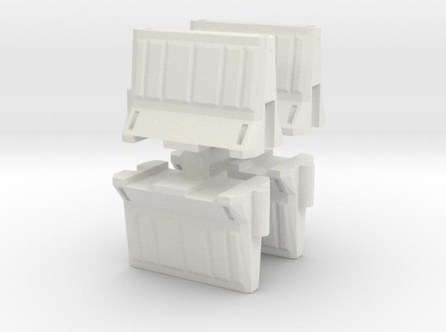 Interlocking traffic barrier (x4) 1/43 in White Natural Versatile Plastic