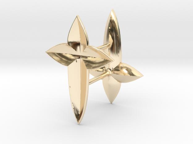 De Lys Cross Earring set in 14K Yellow Gold