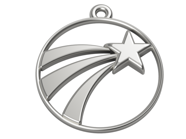 A Lucky Pendant of a   Shooting Star ⭐️ in Polished Silver