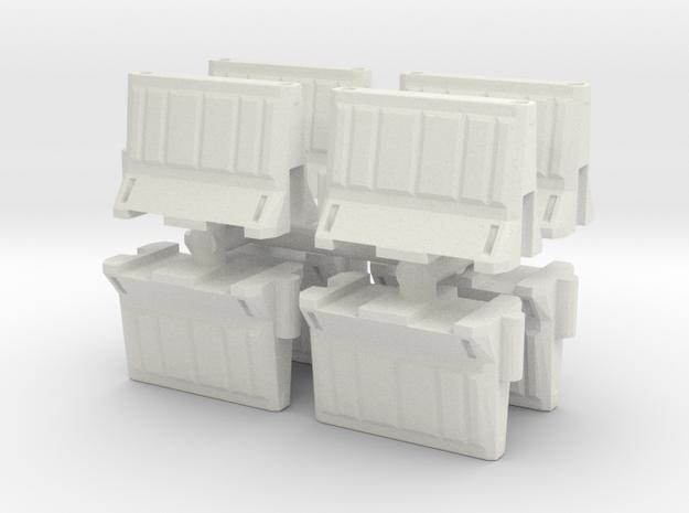 Interlocking traffic barrier (x8) 1/48 in White Natural Versatile Plastic