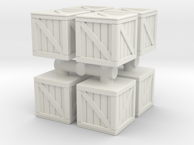 Wood crate prop (x8) 1/72 in White Natural Versatile Plastic