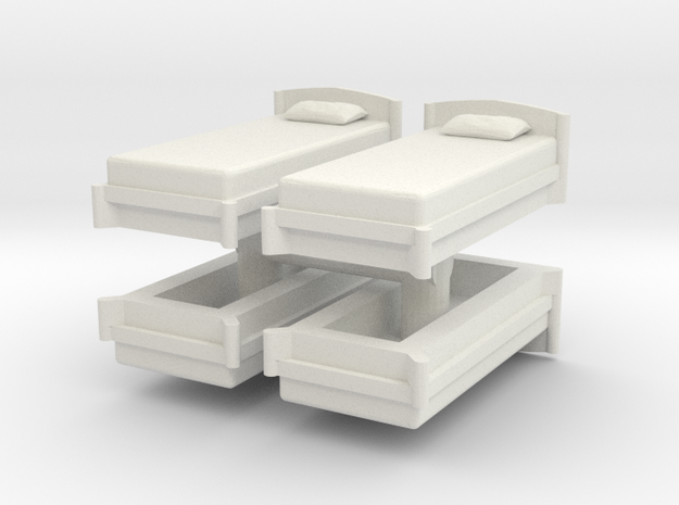 Single Bed (x4) 1/24 in White Natural Versatile Plastic