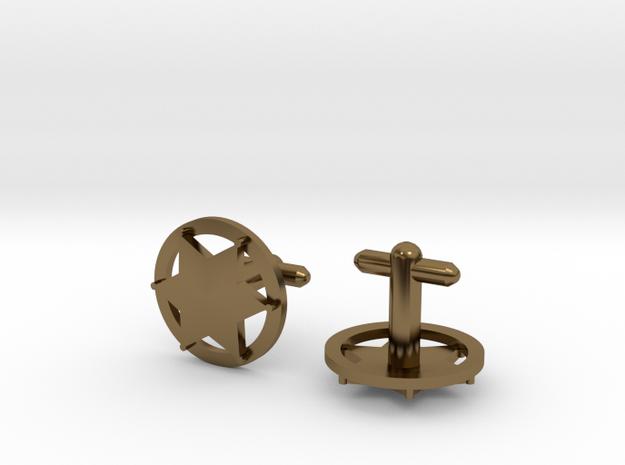 Sheriff's Star Cufflink (Style 3) Silver,Brass,Gol 3d printed