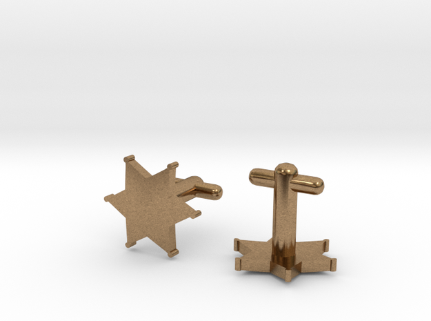 Sheriff's Star Cufflinks (2) Silver,Brass,or Gold in Natural Brass