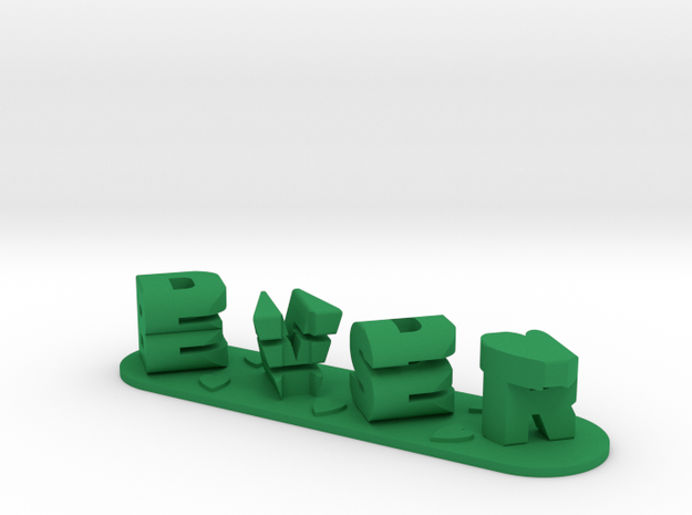 Best Dad Ever 3D Ambigram Father's Day Gift in Green Processed Versatile Plastic