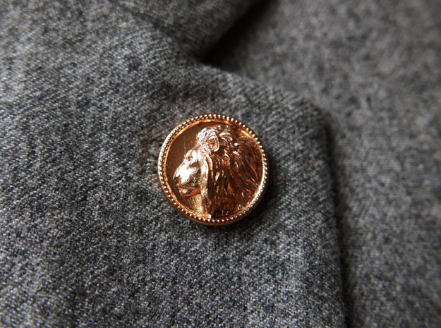 Lion Head Lapel Pin No.2聽 in Natural Bronze