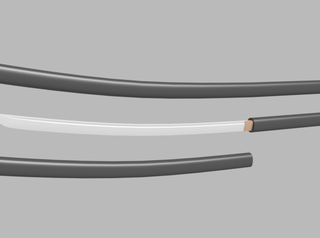 Katana - 1:12 scale - Curved blade - Plain in Smooth Fine Detail Plastic
