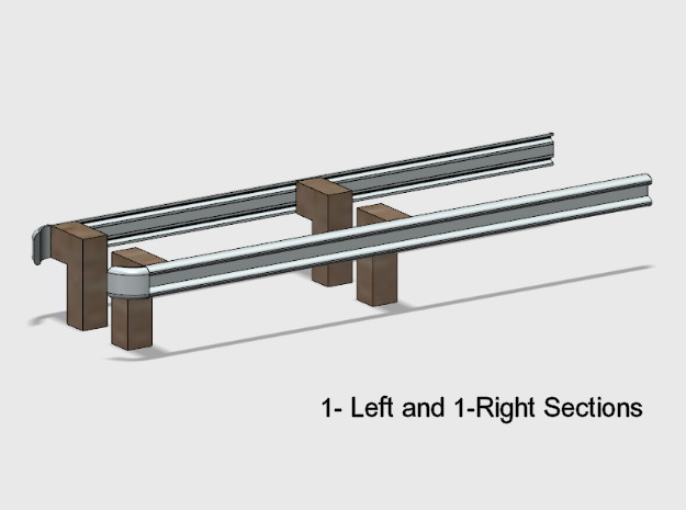 Guardrail End Sections in White Natural Versatile Plastic: 1:87 - HO