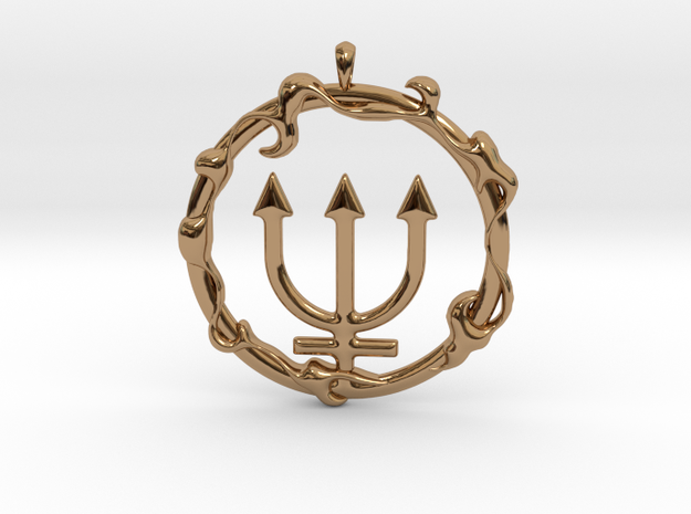 LIQUID Neptune Planetary Jewelry Necklace Symbol in Polished Brass