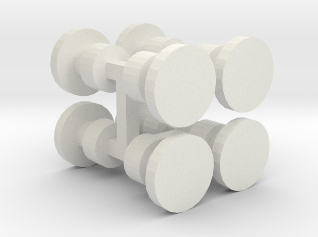 8 Buffers for Wooden Railway Trains in White Natural Versatile Plastic