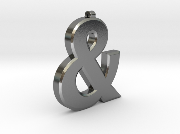 Ampersand Pendant in Polished Silver