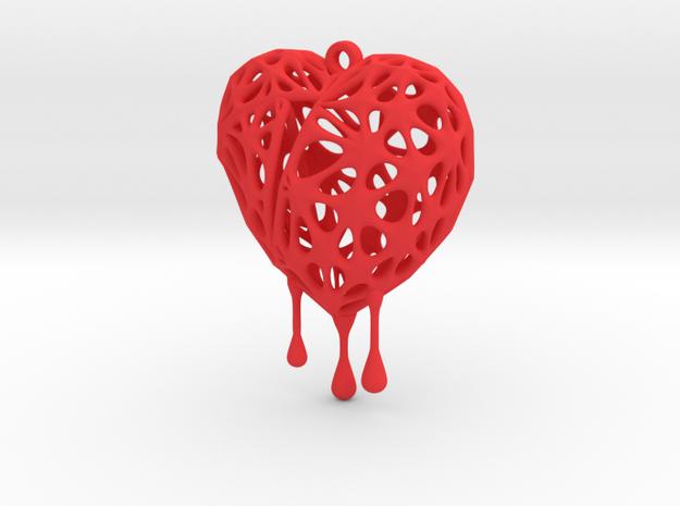 Bleeding Heart Earring (Medium001) in Red Processed Versatile Plastic