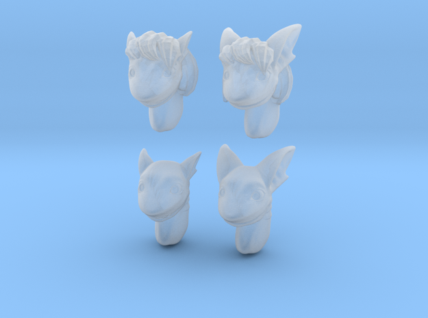Anthropomorphic shark heads (HSD miniatures in Smooth Fine Detail Plastic