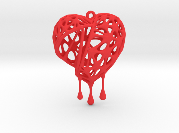 Open Heart Earring (Medium001) in Red Processed Versatile Plastic