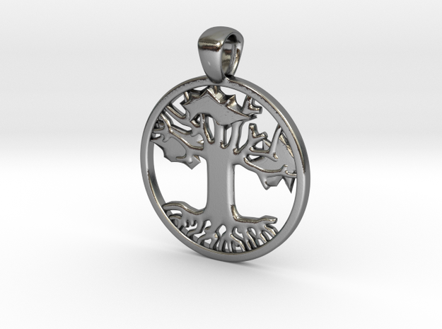 Tree of Hope/Life Pendant (.75 inches) in Polished Silver
