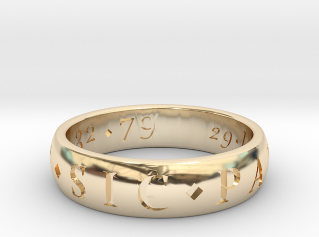 Sir Francis Drake Sic Parvis Magna Ring, Size US12 in 14K Yellow Gold