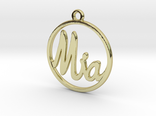 Mia First Name Pendant in 18k Gold Plated Brass