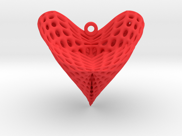 Roman Surface Heart Earring (001) in Red Processed Versatile Plastic