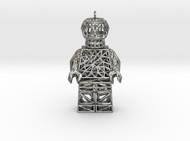 Los Muertos Suger Skull Lego Man Pendent in Raw Silver