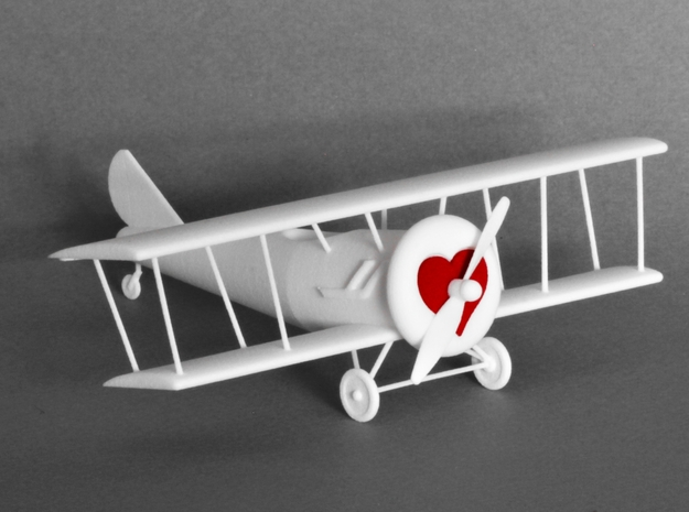 Biplane with Heart (Unpainted) in White Natural Versatile Plastic
