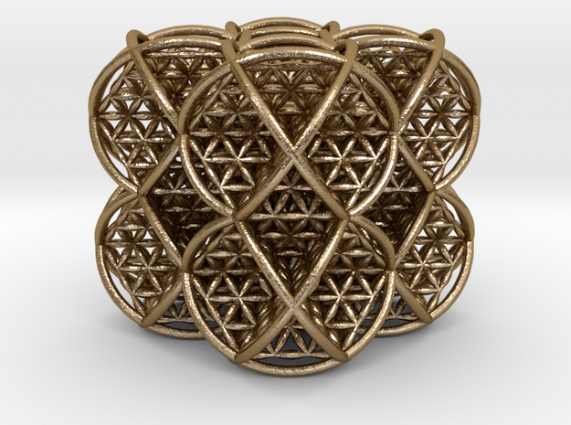 Cube of Life 2 x 2 x 2  in Polished Gold Steel