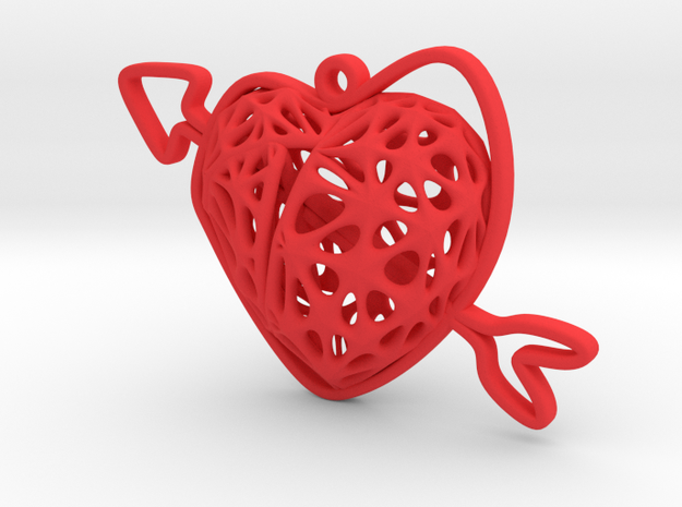 Voronoi Heart + Heart Earring (004) in Red Processed Versatile Plastic