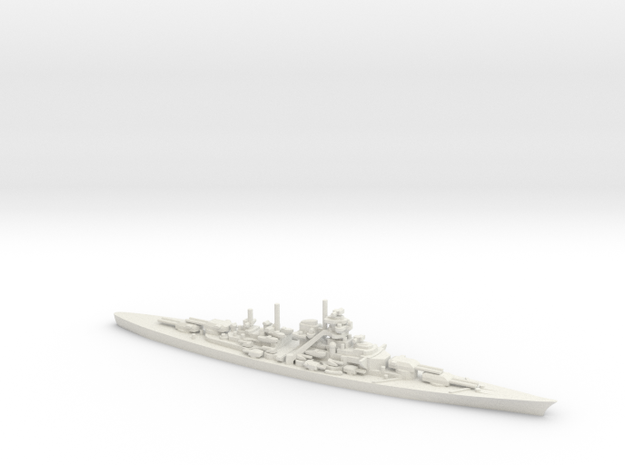 German Battleship Bismarck in White Natural Versatile Plastic