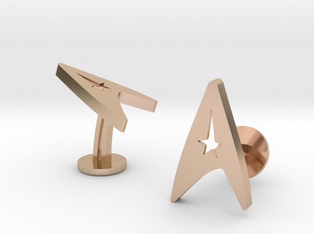 Stark Trek Cufflinks in 14k Rose Gold Plated Brass