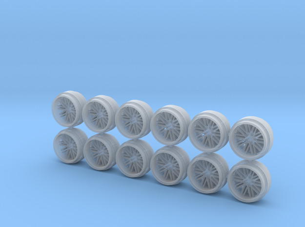 Set of 3 - Multispoke Deep Dish Wheels in Smooth Fine Detail Plastic