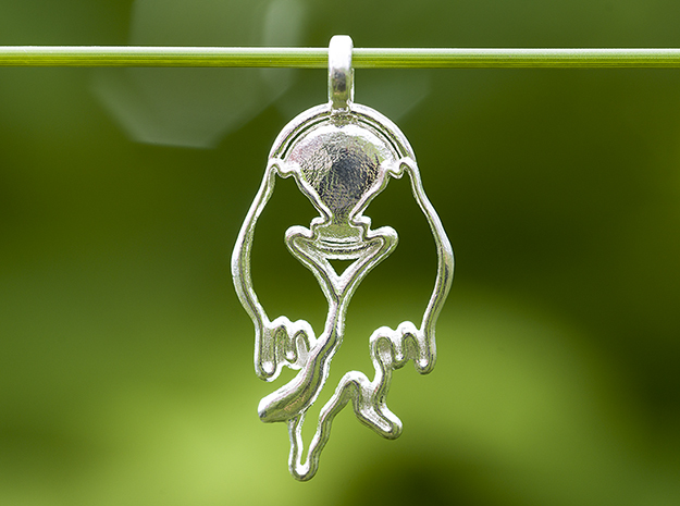 Wolf Necklace Pendant Wolves in Love in Polished Silver
