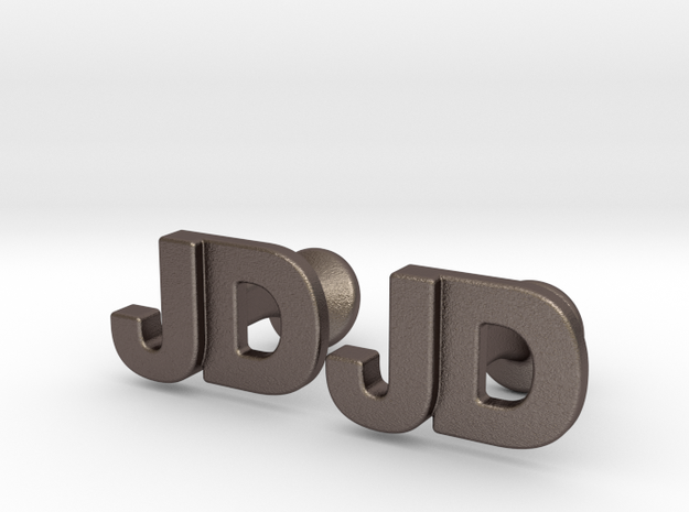 Monogram Cufflinks JD in Polished Bronzed-Silver Steel