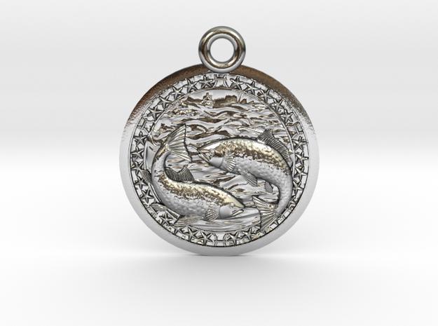 Zodiak Fish-Medaillon in Polished Silver