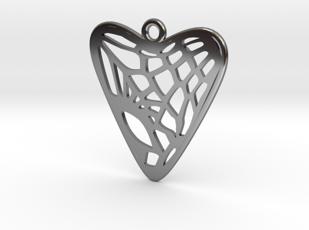 Voronoi Heart Earring (001a) in Fine Detail Polished Silver